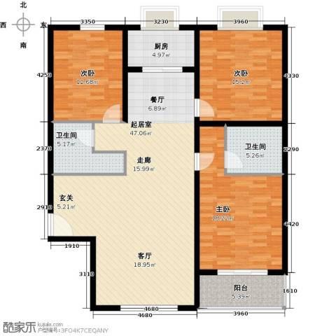 翰林北苑3室0厅2卫1厨127.00㎡户型图