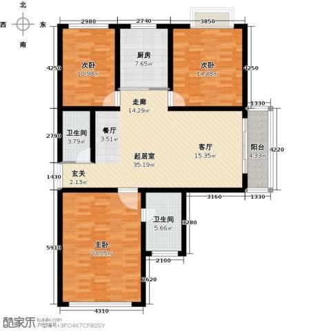 翰林北苑3室0厅2卫1厨119.00㎡户型图