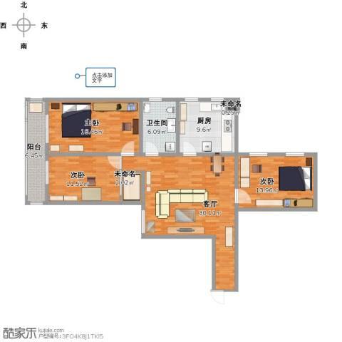 美丽亚洲假日花园3室1厅1卫1厨108.07㎡户型图