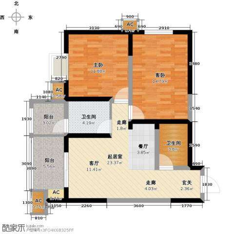 紫郡华宸2室0厅2卫0厨86.00㎡户型图