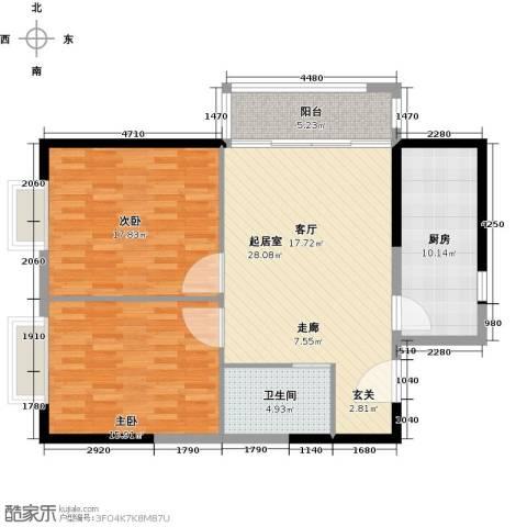 鼎峰新立方2室0厅1卫1厨114.00㎡户型图