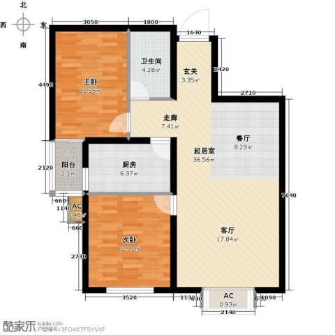 隶都景苑2室0厅1卫1厨85.00㎡户型图