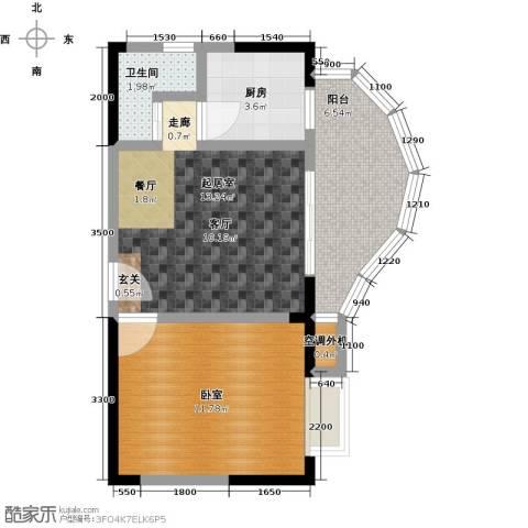 蓝湾星宸花园1卫1厨44.00㎡户型图