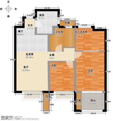 雅戈尔太阳城缘邑2室0厅1卫1厨99.00㎡户型图