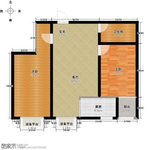 隶都景苑2室1厅1卫1厨92.00㎡户型图