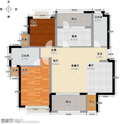 雅戈尔太阳城缘邑2室1厅2卫1厨117.00㎡户型图