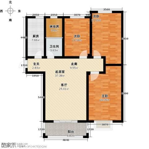 中房青年城3室0厅1卫1厨124.00㎡户型图