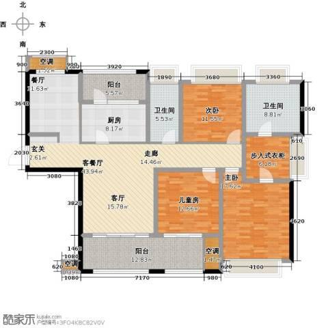 雅戈尔太阳城缘邑3室1厅2卫1厨163.00㎡户型图