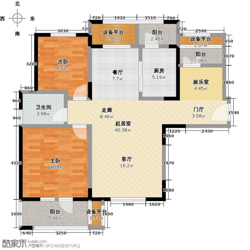 泛海国际居住区悦海园100.00㎡A户型两室两厅一卫户型2室2厅1卫