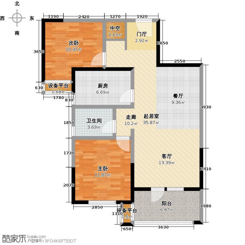泛海国际居住区悦海园88.00㎡B户型两室两厅一卫户型2室2厅1卫