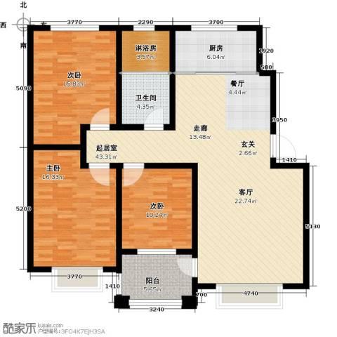 中房青年城3室0厅1卫1厨120.00㎡户型图