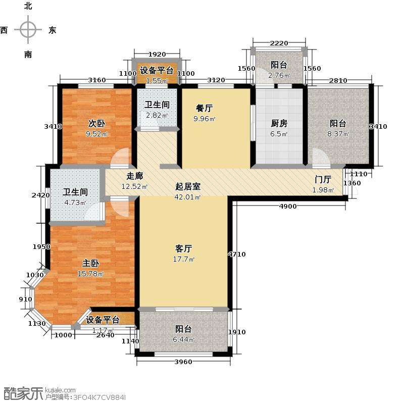 世茂龙湾116.32㎡71A户型3室2厅2卫