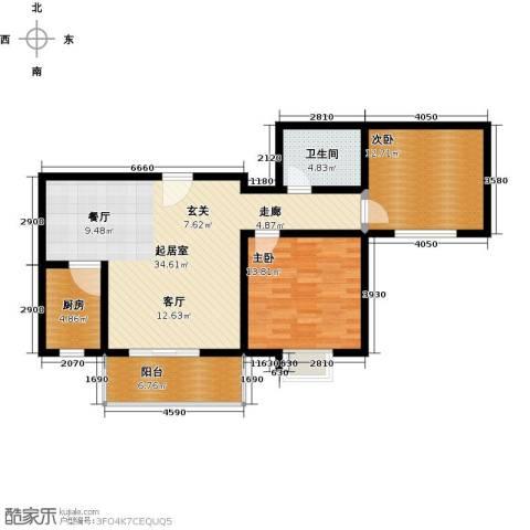 翰林北苑2室0厅1卫1厨90.00㎡户型图