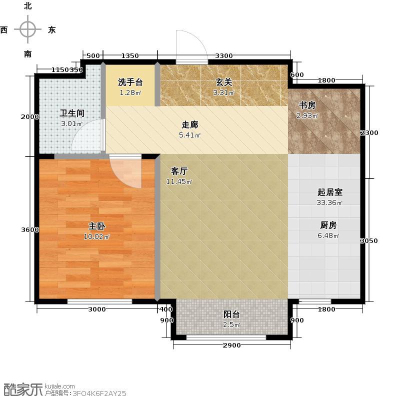 万成御园65.00㎡一室一厅一卫65平米户型图户型1室1厅1卫