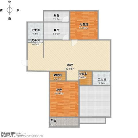 东方体育城3室2厅2卫1厨158.00㎡户型图