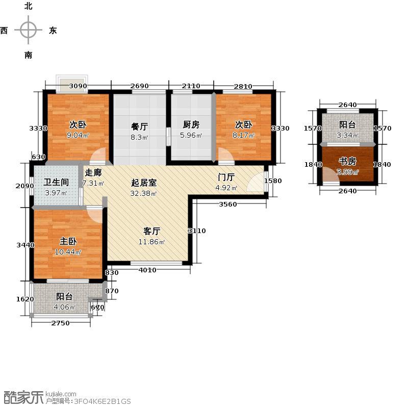 中交江锦湾93.25㎡T户型 3室2厅1卫户型3室2厅1卫