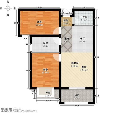 康桥郡2室1厅1卫1厨89.00㎡户型图