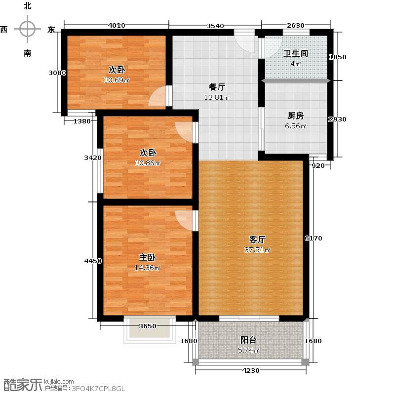 容盛星河湾102.00㎡E户型3室2厅1卫1厨户型3室2厅1卫