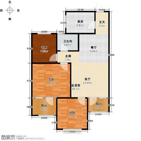 八里庄・盛世华园3室0厅1卫1厨110.00㎡户型图