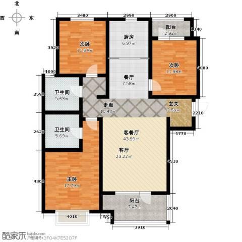 幸福城3室1厅2卫1厨132.00㎡户型图