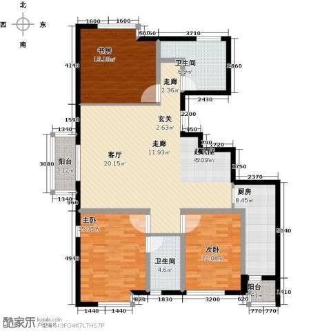 明湖・白鹭郡3室0厅2卫1厨125.00㎡户型图