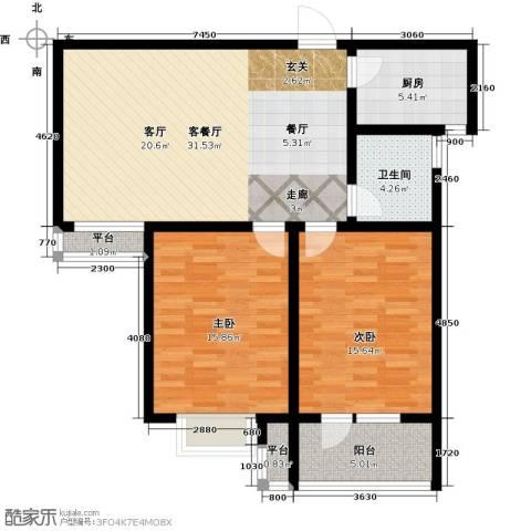 幸福城2室1厅1卫1厨114.00㎡户型图
