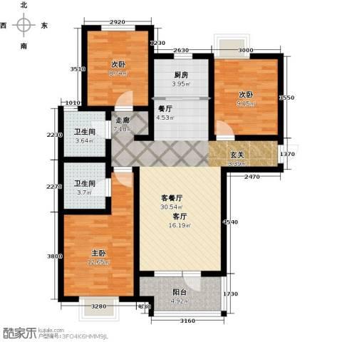 幸福城3室1厅2卫1厨119.00㎡户型图