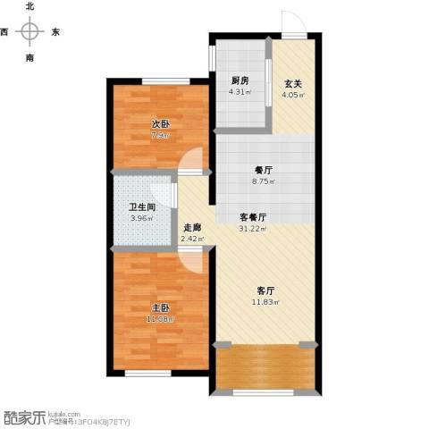 中海银海熙岸2室1厅1卫1厨83.00㎡户型图