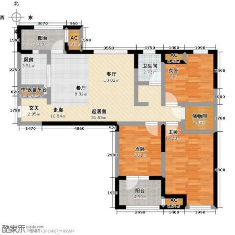 万科城花�苑3室0厅1卫1厨105.00㎡户型图