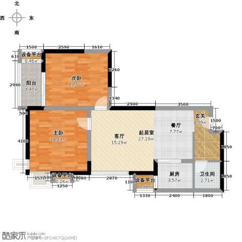 万象未央2室0厅1卫1厨88.00㎡户型图