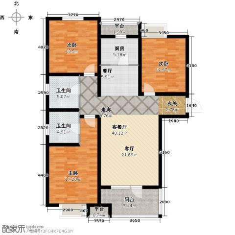 幸福城3室1厅2卫1厨155.00㎡户型图