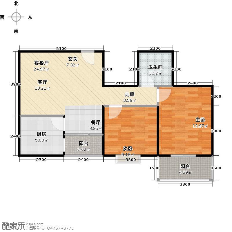 朱雀坊87.00㎡朱雀坊2室2厅1卫87平米C户型2室2厅1卫