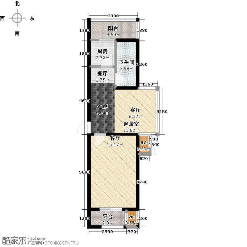 和泰馨城1室2厅1卫1厨 面积:60.80平方米户型
