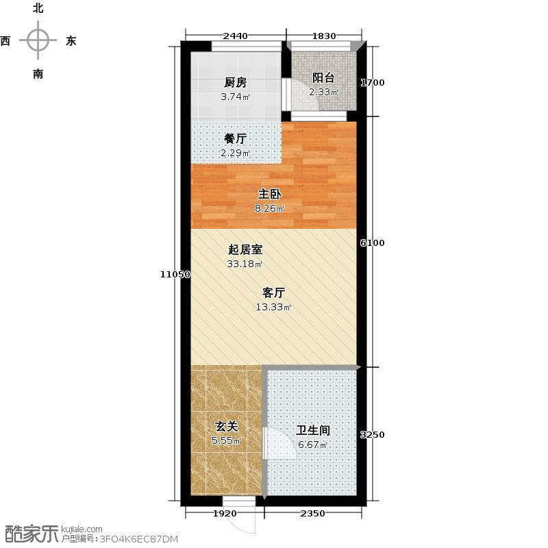 学府公馆56.32㎡一室两厅一卫56.32平米G-户型1室2厅1卫
