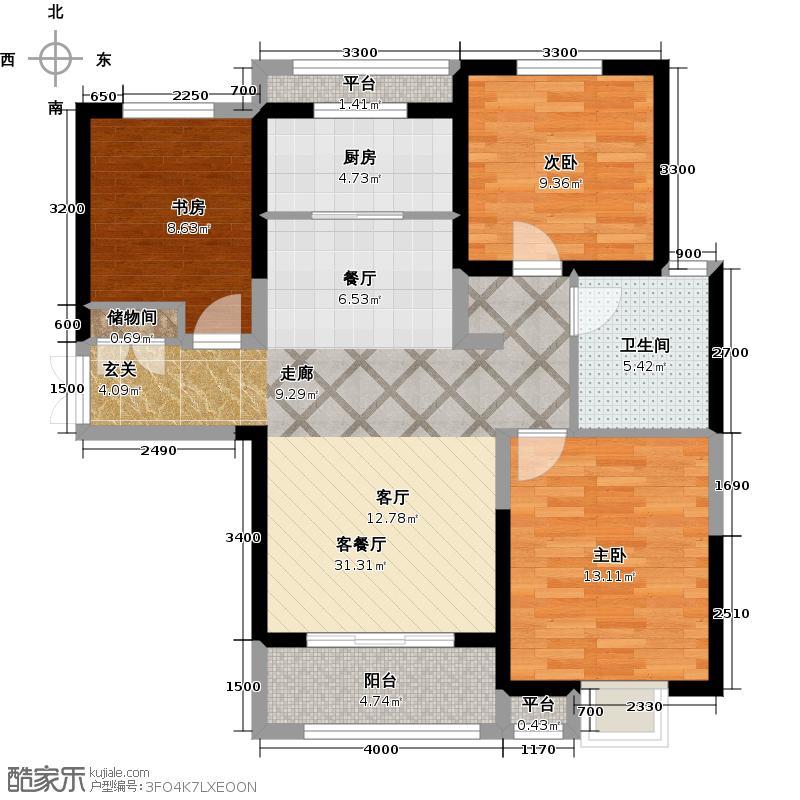 东胜紫御府112.68㎡三室二厅一卫户型112.68平米户型3室2厅1卫