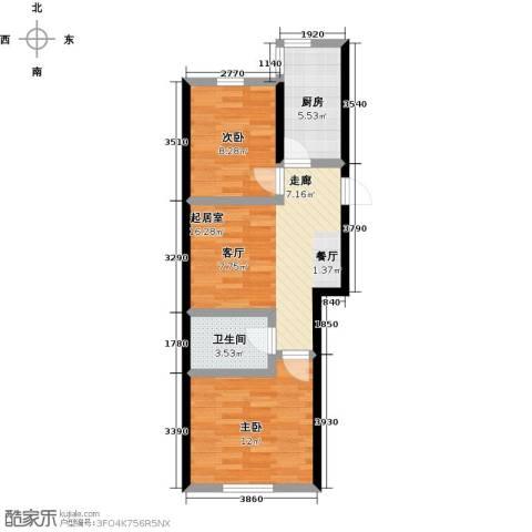 景城时代2室0厅1卫1厨67.00㎡户型图