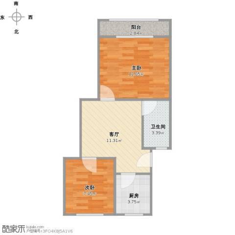 虹梅南路126弄小区2室1厅1卫1厨56.00㎡户型图