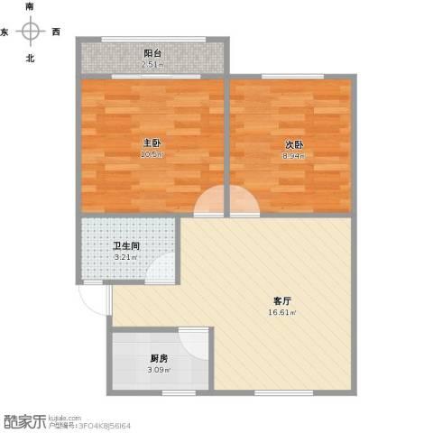 莘南一村2室1厅1卫1厨61.00㎡户型图