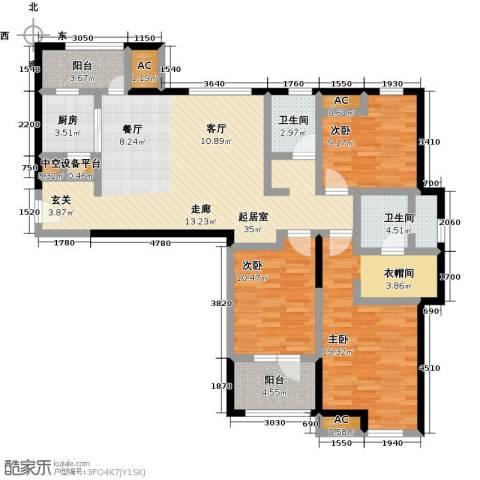 万科城花�苑3室0厅2卫1厨115.00㎡户型图