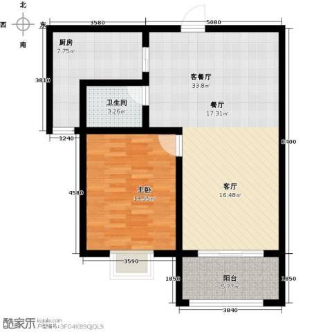 盛祥佳苑1室1厅1卫1厨74.00㎡户型图