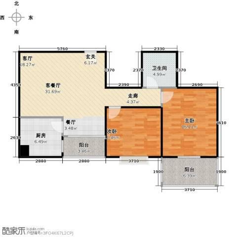 朱雀坊2室1厅1卫1厨87.00㎡户型图