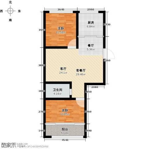 盛祥佳苑2室1厅1卫1厨99.00㎡户型图