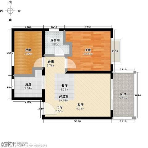 海泽雅居2室0厅1卫1厨71.00㎡户型图