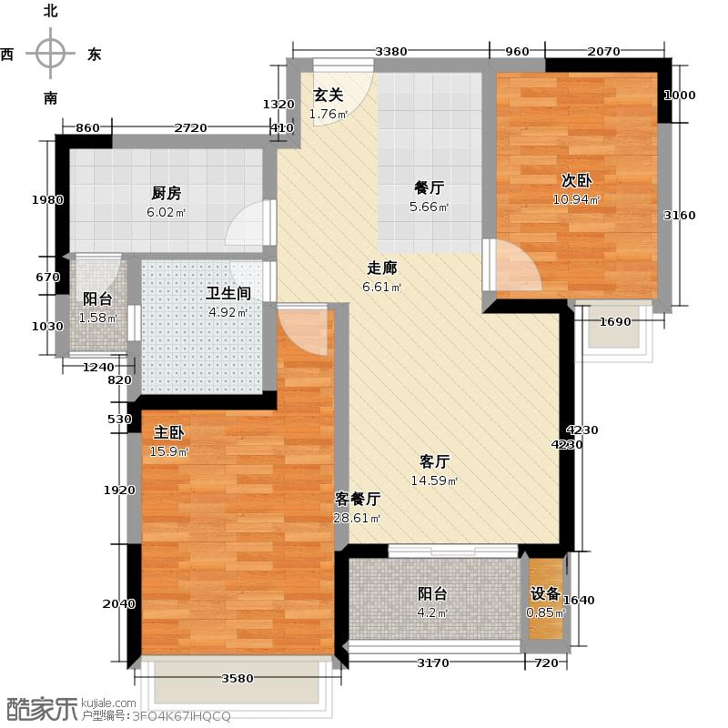 东宝康园85.00㎡东宝康园85.00㎡2室2厅1卫户型2室2厅1卫-副本