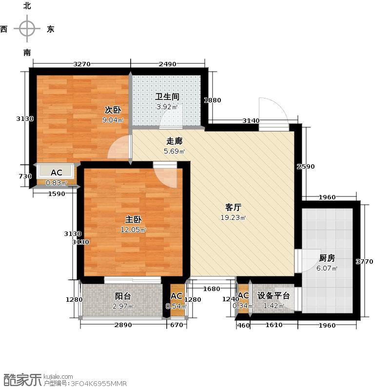 风憬天下65.95㎡13号楼2室1厅1卫 65.95平米B户型2室1厅1卫