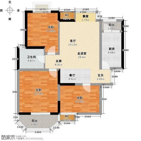 华清学府城3室0厅1卫1厨98.00㎡户型图