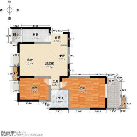 华清学府城2室0厅1卫1厨94.00㎡户型图