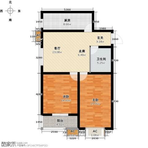 隶都景苑2室1厅1卫1厨87.00㎡户型图