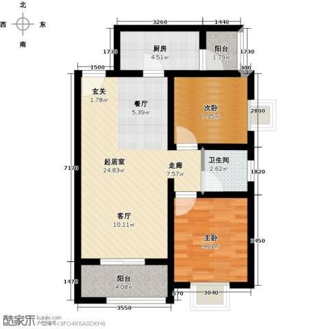 香缤国际城2室0厅1卫1厨79.00㎡户型图