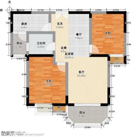 华清学府城2室0厅1卫1厨86.00㎡户型图